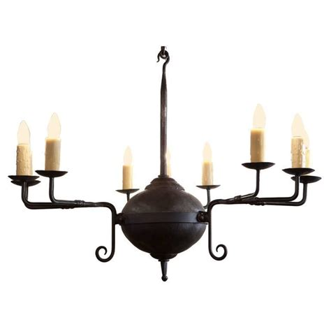Forged Iron Chandeliers Forged Iron Quot Mercer Quot Chandelier With Nine Lights For Sale At 1stdibs