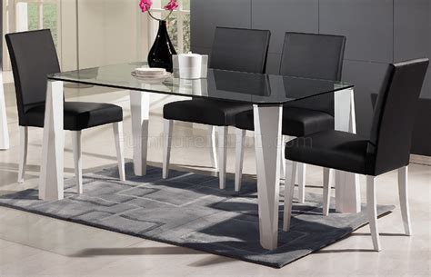 Glass Top White Legs Modern Dining Table W Optional Chairs Dining Table With White Legs