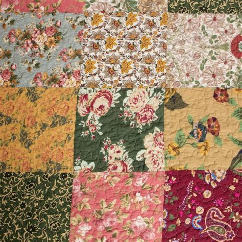 Define Patchwork - country floral patchwork cotton quilt set luxury