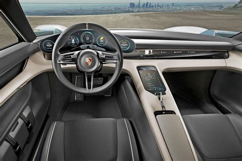 porsche concept interior porsche charges into the future with mission e concept
