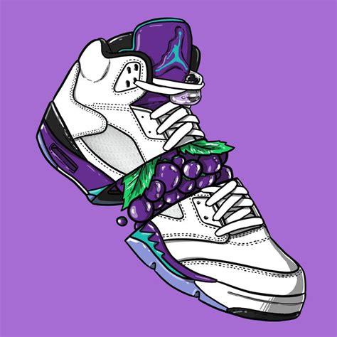 wallpaper jordan cartoon sneaker art jordan v quot grape quot sneaker art pinterest