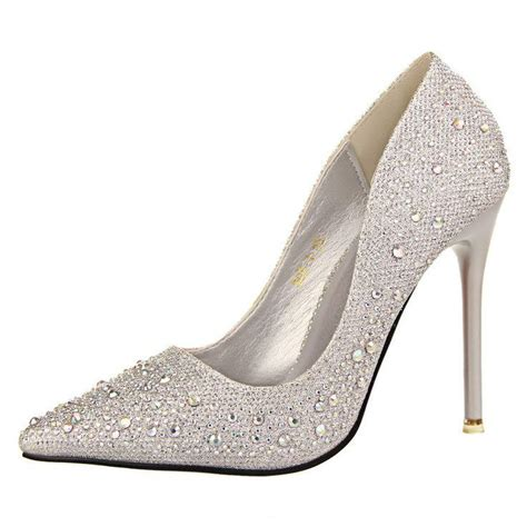 Rhinestone Platform Pumps silver rhinestone wedding shoes platform pumps bottom