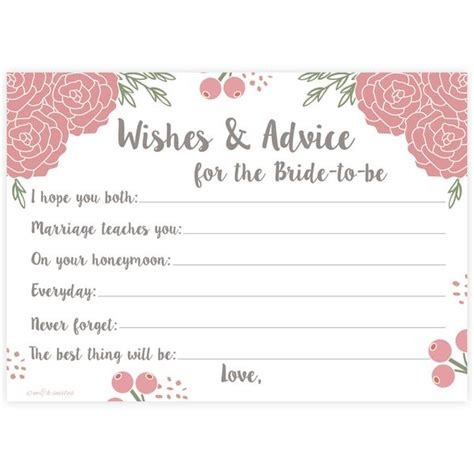 bridal shower advice cards template pink floral bridal wishes and advice for to be m h