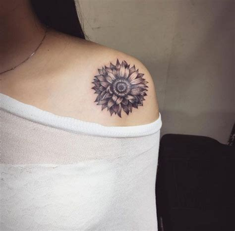 sunflower shoulder tattoo designs ideas and meaning
