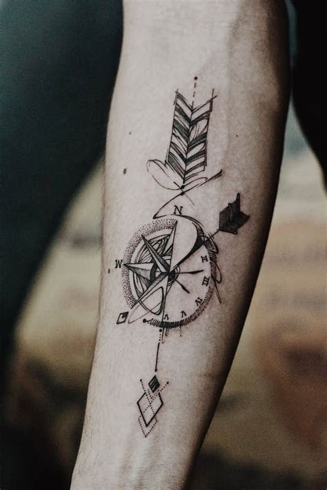 forearm arrow tattoo compass arrow on forearm
