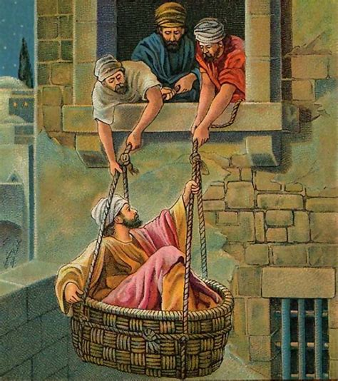 The Wall The Story Of Pauls Escape In A Basket paul s conversion on the road to damascus morning light