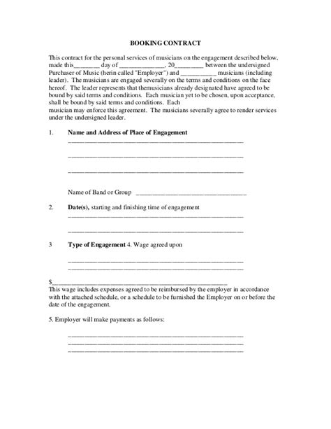 booking contract template booking contract