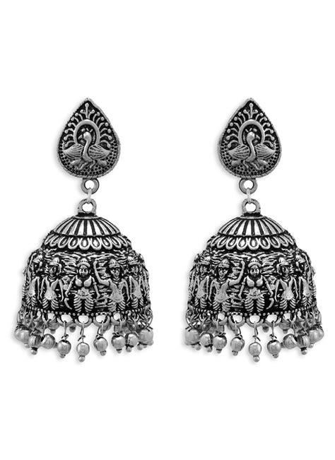 buy silver jhumka earrings beads jhumka  shopping