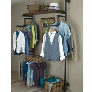 clothing rack from galvanized pipe wood create