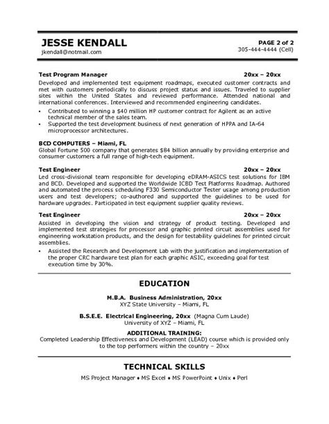 electrical testing engineer resume resume ideas