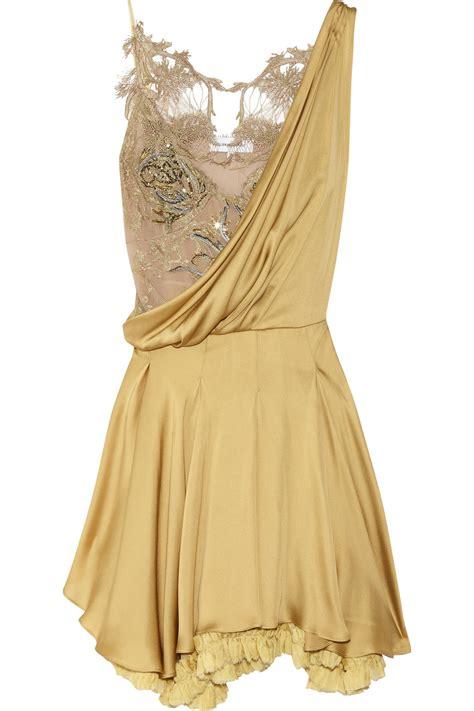 Satin Lace Silk Julien Macdonald Silk Satin And Lace Dress In Gold Lyst