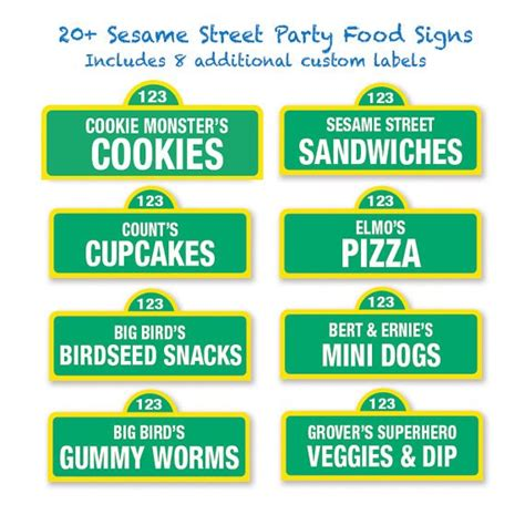 Sesame Street Party Ideas Anything About Prepping Food Signs Template