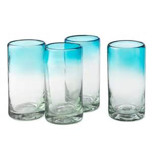 Turquoise Blue Kitchen Accessories - ombre water glasses recycled glass serveware blue gradient modern design uncommongoods