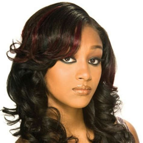 pictures of african american weaves burgundy highlights hair relaxed weaved wigs black
