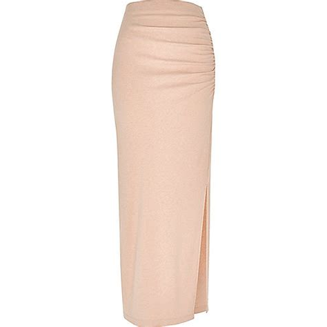 light pink jersey ruched maxi skirt skirts sale