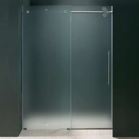 Shower Doors Frosted Glass Frameless Glass Vigo 60 Inch Frameless Frosted Glass Sliding Shower Door Offers