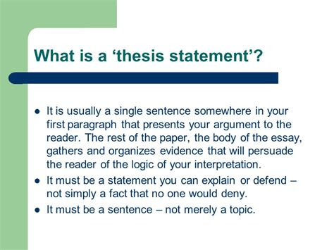 does a thesis to be one sentence thesis statement idea conclusion ppt