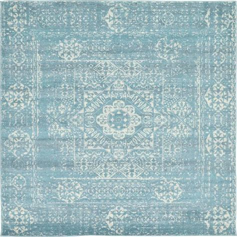 area rug 4 x 8 unique loom tradition light blue 8 ft 4 in x 8 ft 4 in square area rug 3132764 the home depot