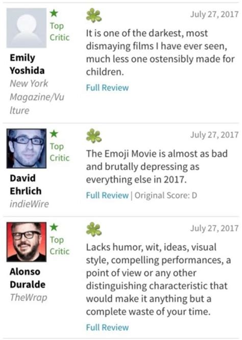 emoji rotten tomatoes first reviews from rotten tomatoes the emoji movie