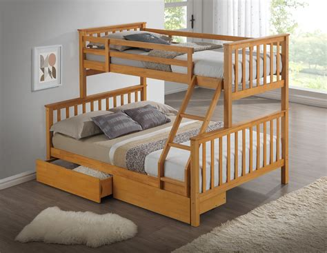 Bunk Bed For Three Artisan New 3 Sleeper Wooden Bunk Bed Beech