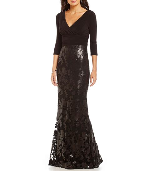 Tie Waist Panel Lace Evening Gown papell v neck sequin lace gown dillards