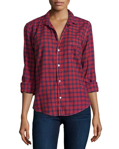jeans pattern shirt frank eileen barry plaid long sleeve shirt in red red