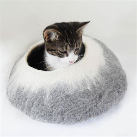 cat cave bed two tone felt cat cave bed and ball by lovecatcaves notonthehighstreet com