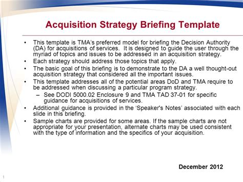 acquisition strategy template acquisition strategy briefing template ppt