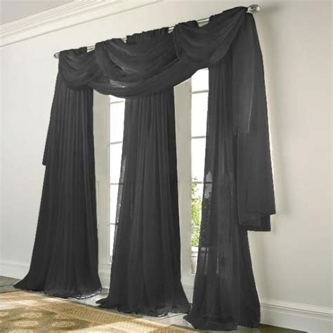 Sheer Black Curtains Elegance Voile Black Sheer Curtain Bedbathhome