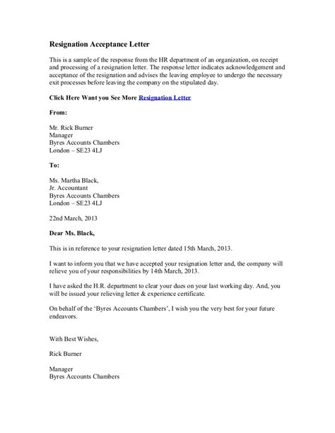 Resignation Acceptance Letter In Word Format Resignation Letter Accepting Resignation Letter From