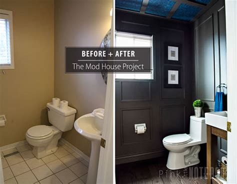 Bedroom Makeovers On A Budget reveal dated powder room gets a moody makeover pink
