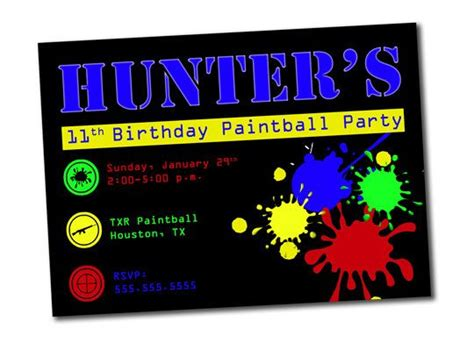printable birthday invitations paintball 126 best paint ball party images on pinterest paintball