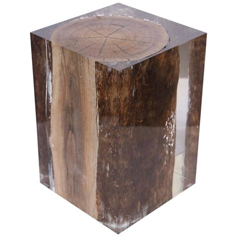 stool side table acrylic glass nilleq driftwood side table and stool at 1stdibs