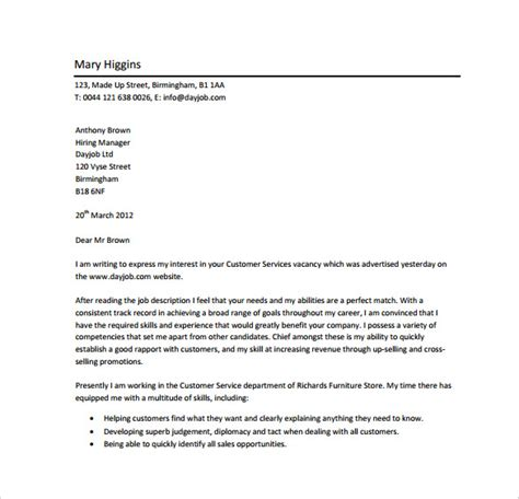 cover letter for customer service professional 18 professional cover letter templates free sle