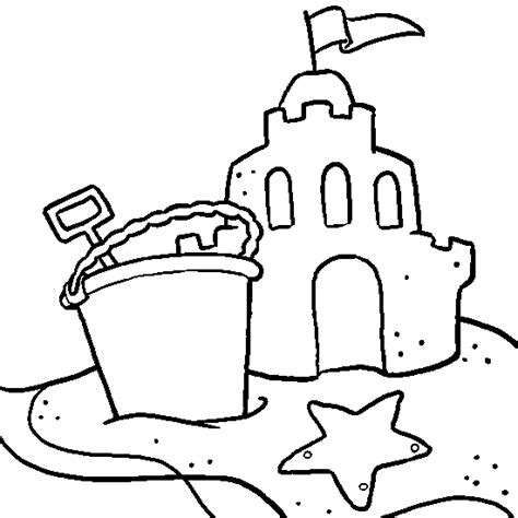 Sand Castle Coloring Page drawing vacation a sand castle summer coloring to print