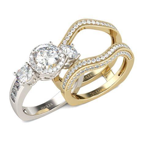 Set Twotone jeulia three two tone halo cut created white sapphire enhancer wedding set jeulia