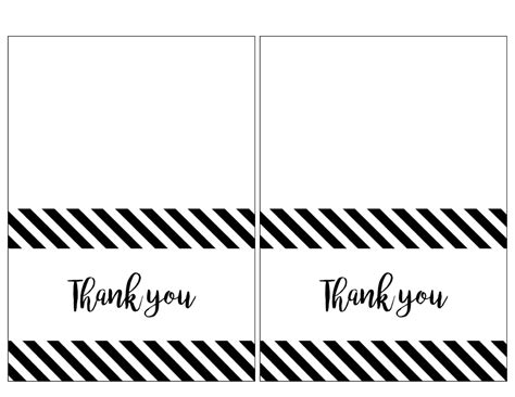 single thank you card blank template free thank you cards print free printable black and white