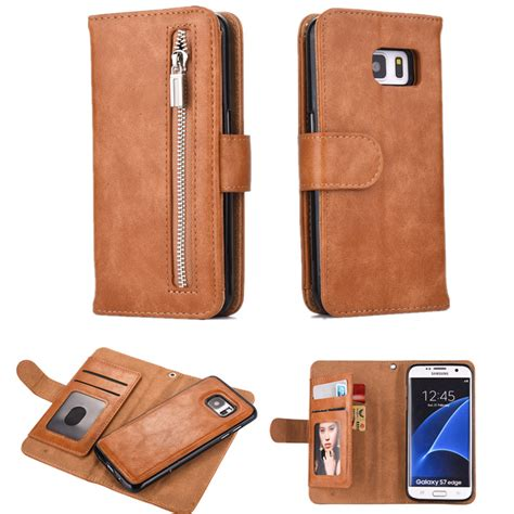 luxury leather for samsung galaxy note 8 note 5 flip phone zipper wallet removable