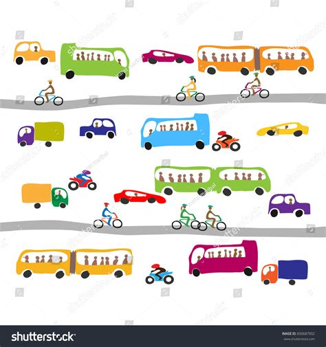 traffic pattern en espanol colorful pattern cute city transport trafficvector stock