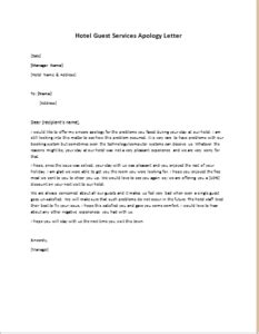 hotel apology letter template apology letter to guest hotel business letter template