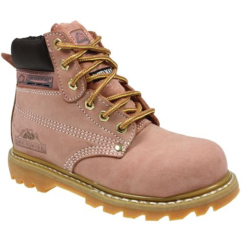 womans steel toe boots womens groundwork safety steel toe cap work boots pink