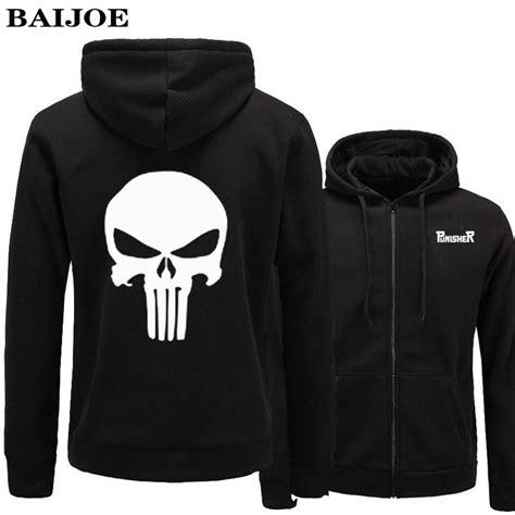 Jaket Zipper Hoodie Sweater Punisher Hitam 3 baijoe brand punisher hoodies letters printed word sweatshirt mens moletom masculino
