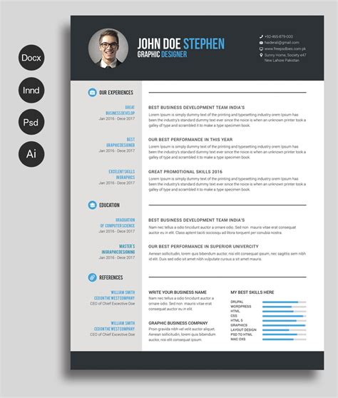 resume templates word free ms word resume and cv template free design resources