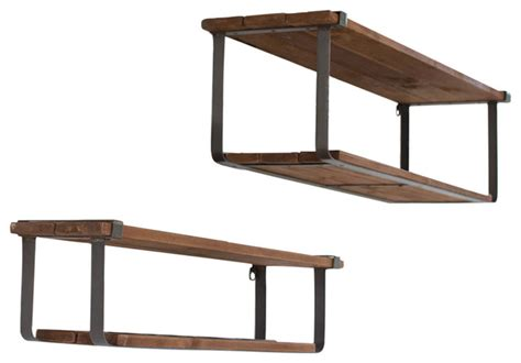 wood and metal wall shelves recycled wood and metal shelves 2 set industrial