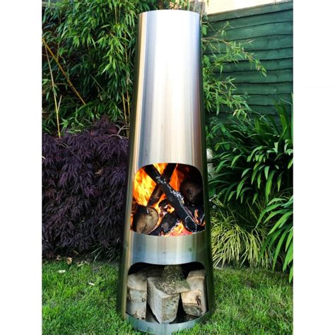 Stainless Steel Chiminea Stainless Steel Cone Chimenea Large