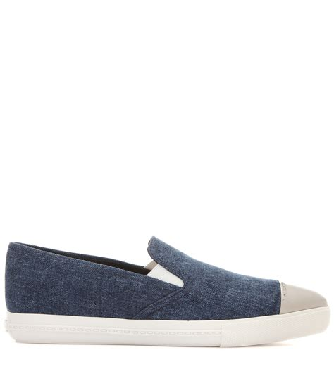 Sneaker Slip On Miu Miu 7346 lyst miu miu denim slip on sneakers in blue
