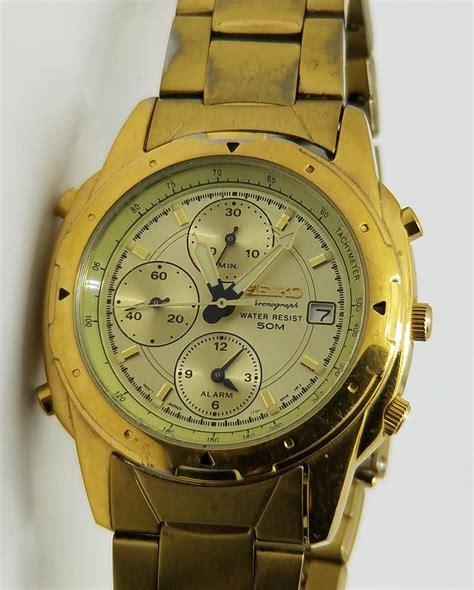 Seiko 7t32 seiko chronograph wr 50 stainless steel gold alarm mens