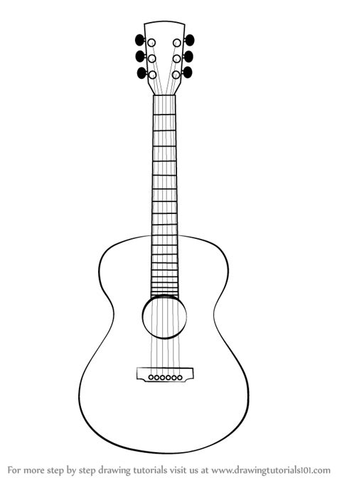 Acoustic Guitar Outline Drawing by Learn How To Draw An Acoustic Guitar Musical Instruments