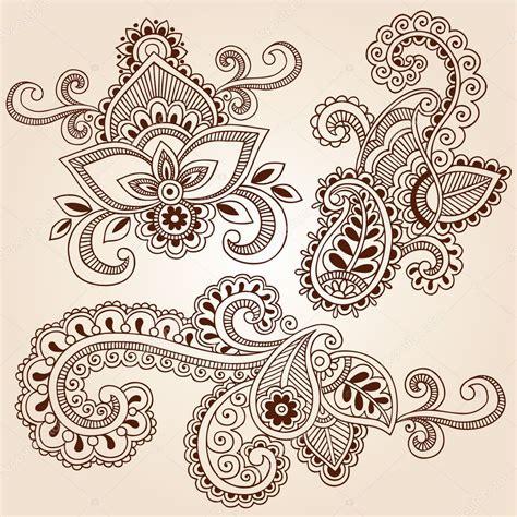 henna mehndi doodles vector design elements stock