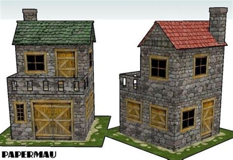 free paper model buildings downloads two old stone house for diorama free building paper models